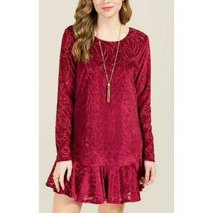 NWT Francescas Caydin Flounce Velvet Shift Dress